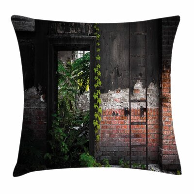 Bricks Plants Square Pillow Cover Size: 18 x 18