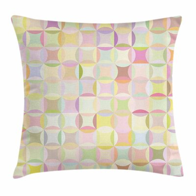 Pastel Retro Polka Dots Funky Square Pillow Cover Size: 16 x 16