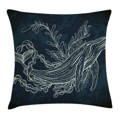 Whale Doodle Reef Seaweed Square Pillow Cover Size: 16