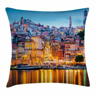 Medieval Town Coast Square Pillow Cover Size: 18 x 18