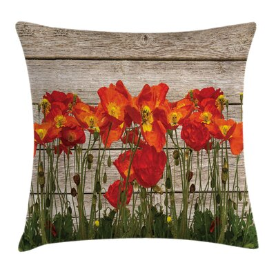 Rustic Blooming Poppy Flowers Square Pillow Cover Size: 24 x 24