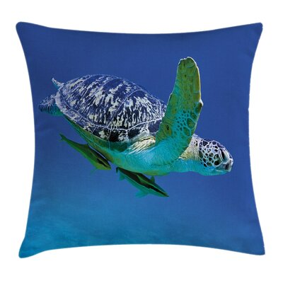 Aqua Tropics Turtle Aquarium Square Pillow Cover Size: 16 x 16