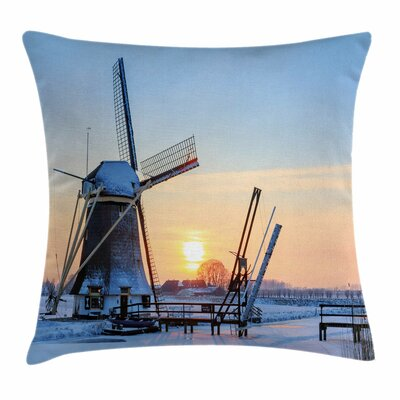 Windmill Decor Icy Dutch River Square Pillow Cover Size: 16 x 16