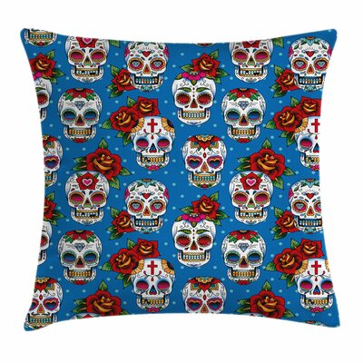 Sugar Skull Mexican Retro Dots Square Pillow Cover Size: 20 x 20