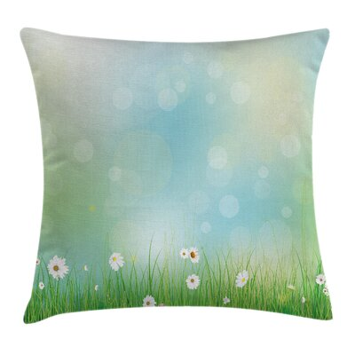 Floral Spring Nature Field Square Pillow Cover Size: 24 x 24