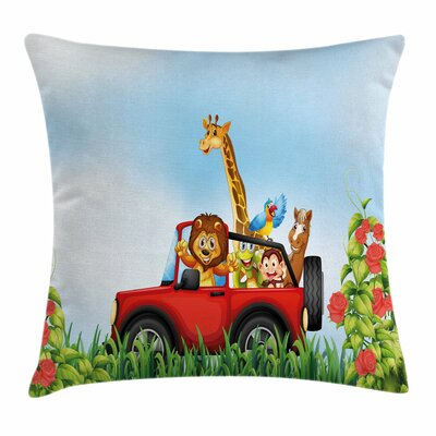 Cartoon Wildlife Animals Square Pillow Cover Size: 18 x 18