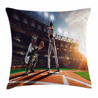 Baseball Player Square Pillow Cover Size: 18 x 18