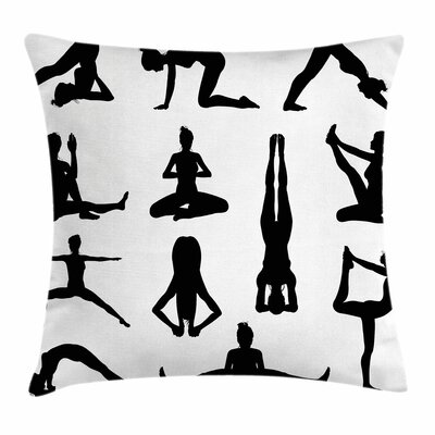 Yoga Asanas Forms Wellness Square Pillow Cover Size: 24