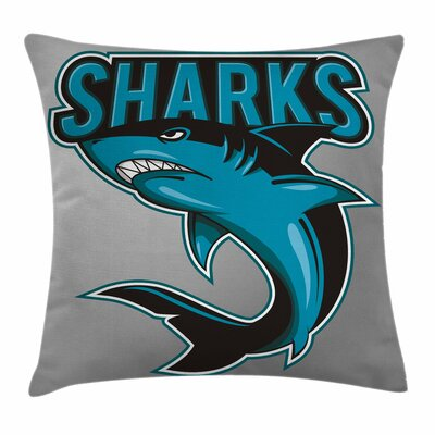 Shark Angry Danger Fish Fins Square Pillow Cover Size: 20 x 20