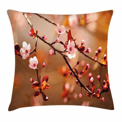Nature Blossom Sakura Square Pillow Cover Size: 18 x 18