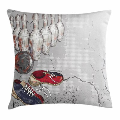 Bowling Artistic Grunge Objects Square Pillow Cover Size: 16 x 16