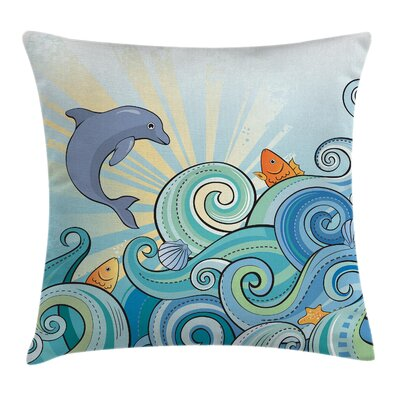 Kids Cartoon Dolphin Square Pillow Cover Size: 18 x 18