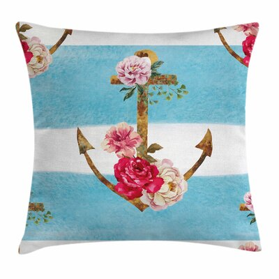 Shabby Elegance Decor Anchors Roses Square Pillow Cover Size: 20
