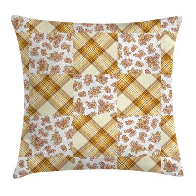 Paisley Decor Retro Patchwork Square Pillow Cover Size: 16 x 16