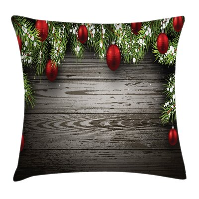 Christmas Balls Fir Branch Square Pillow Cover Size: 24 x 24