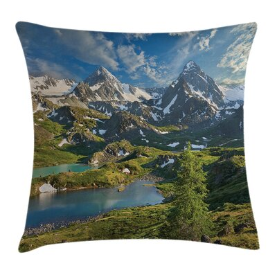 Nature Snowy Mountain Lake Square Pillow Cover Size: 20 x 20