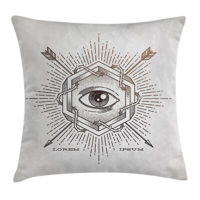 Mystic Third Eye Symbol Square Pillow Cover Size: 16 x 16
