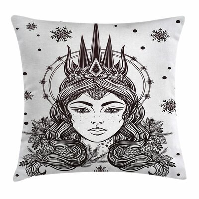 Fantasy Snow Queen Art Square Pillow Cover Size: 16 x 16