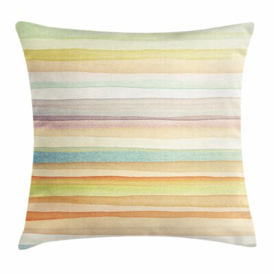 Pastel Stripes Watercolor Art Square Pillow Cover Size: 18 x 18