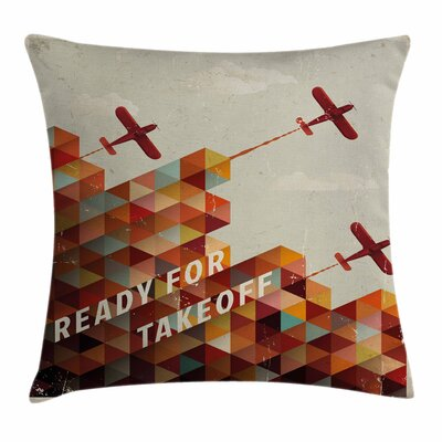 Vintage Airplane Geometric Aged Square Pillow Cover Size: 20 x 20