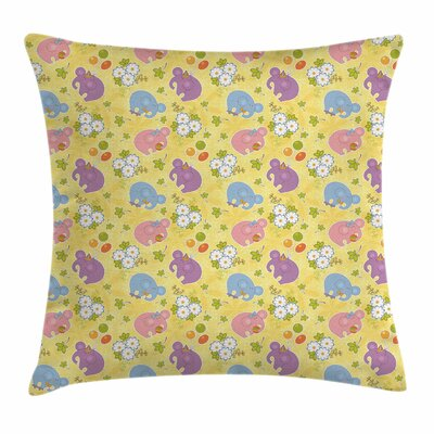 Elephant Lively Spring Square Pillow Cover Size: 16 x 16