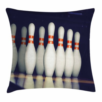 Bowling Party Pins on Alley Square Pillow Cover Size: 16 x 16