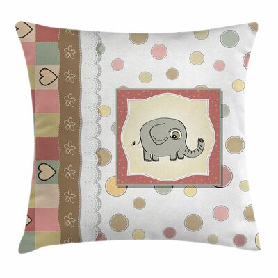 Elephant Nursery Vintage Hearts Square Pillow Cover Size: 24 x 24