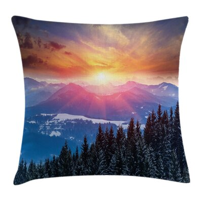 Forest Sunset in Mountains Square Pillow Cover Size: 16 x 16