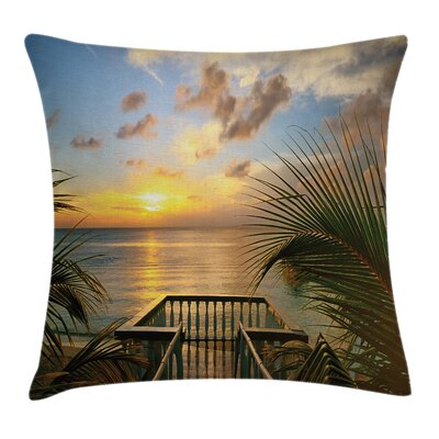 Tropical Palms Sunset Scenery Square Pillow Cover Size: 24 x 24