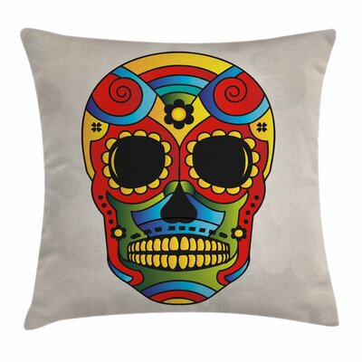 Sugar Skull Latin Macabre Myth Square Pillow Cover Size: 16 x 16