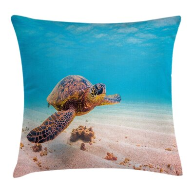Sea Turtle Underwater Square Pillow Cover Size: 16 x 16