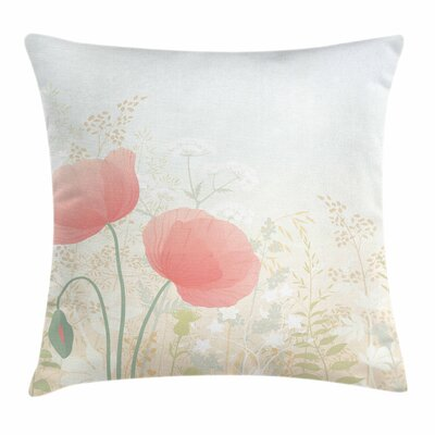 Pastel Wild Poppy Blooms Rural Square Pillow Cover Size: 16 x 16