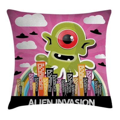 Cartoon Alien Invasion Square Pillow Cover Size: 16 x 16