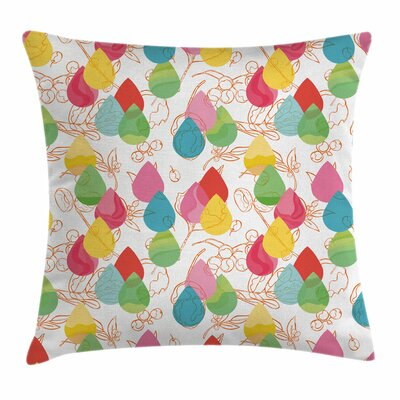 Cherry Branches Lines Square Pillow Cover Size: 18 x 18