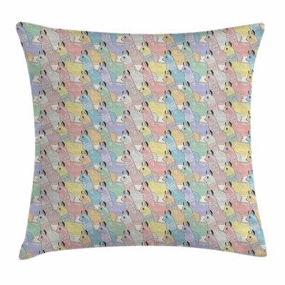 Cute Alpacas Square Pillow Cover Size: 16 x 16