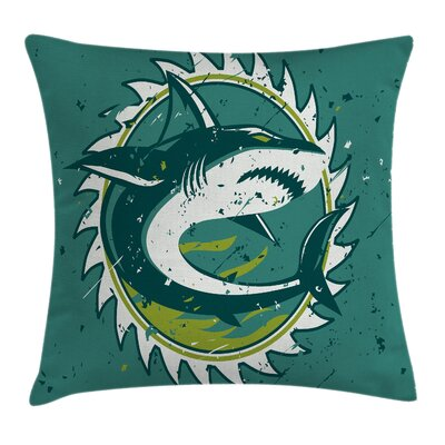 Shark Hunter Marine Art Square Pillow Cover Size: 16
