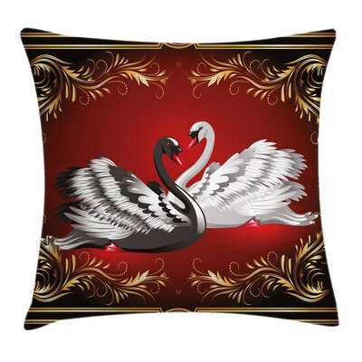 Romantic Swan Couple Square Pillow Cover Size: 18 x 18
