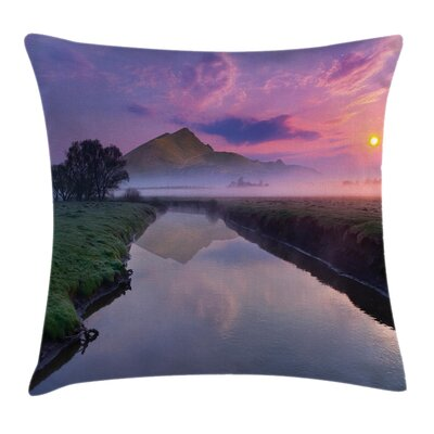 Nature Misty Sunrise on River Square Pillow Cover Size: 24 x 24