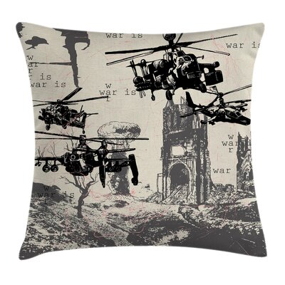Fabric Case Hand Drawn War Scenery Square Pillow Cover Size: 18 x 18