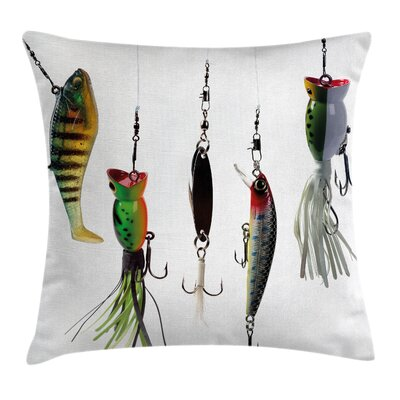 Fish Hunting Sea Animals Theme Square Pillow Cover Size: 16 x 16