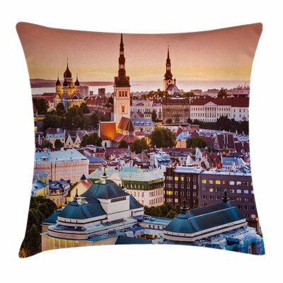 Travel Decor Tallinn Estonia Square Pillow Cover Size: 16 x 16