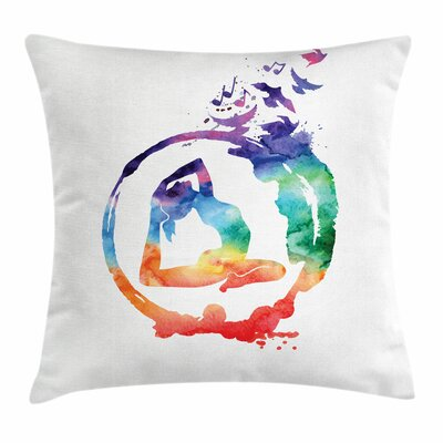 Yoga Watercolors Birds Music Square Pillow Cover Size: 16 x 16