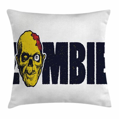 Zombie Decor Dead Human Face Square Pillow Cover Size: 16 x 16