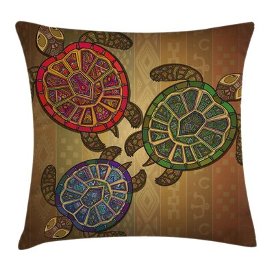 Ethnic Three Turtles Ornamental Square Pillow Cover Size: 24 x 24