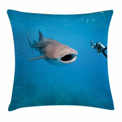 Shark Giant Fish Ocean Diving Square Pillow Cover Size: 20 x 20