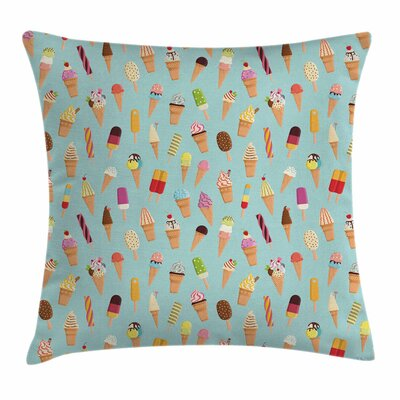 Ice Cream Yummy Fruity Square Pillow Cover Size: 16 x 16