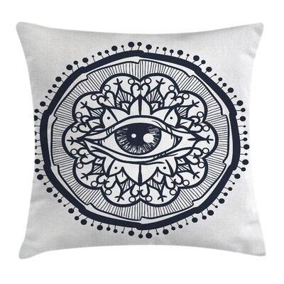 Retro All Seeing Eye Art Square Pillow Cover Size: 24 x 24