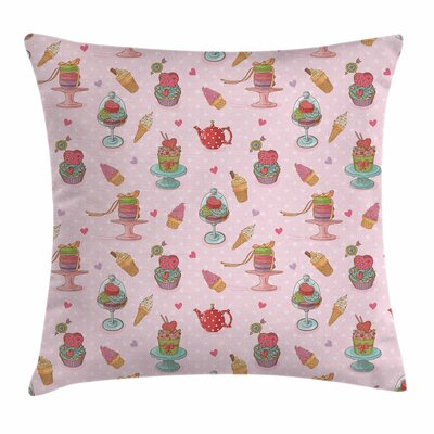 Ice Cream Teapots Cookies Square Pillow Cover Size: 16 x 16