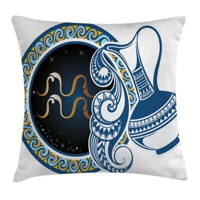 Authentic Aquarius Sign Square Pillow Cover Size: 18 x 18