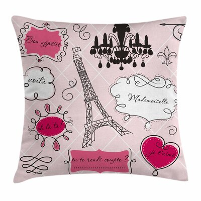 Teen Room Decor Doodle Frames Square Pillow Cover Size: 20 x 20